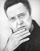 Black And White Drawings Metal Prints - Christopher Walken Metal Print by Olga Shvartsur