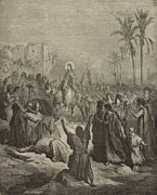 Christianity Drawings - Christs Entry into Jerusalem by Antique Engravings