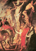 Religious Jesus On Cross Posters - Christs Side Pierced with a Lance Poster by Peter Paul Rubens