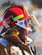 Woman Fire Fighter Pastels Posters - Christy Poster by Dianna Ponting