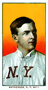 Cards Vintage Metal Prints - Christy Mathewson New York Giants Baseball Card 0100 Metal Print by Wingsdomain Art and Photography