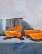 Groceries Painting Posters - Chrome and Oranges Poster by Nancy Merkle