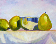 Table Cloth Posters - Chrome and Pears Poster by Nancy Merkle