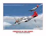 World War Two Photo Posters - Chronicle Of The Airmen Red Tailed Defenders Poster by Jerry Taliaferro