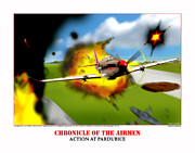 Taliaferro Posters - Chronicles Of The Airmen Action At Pardubice Poster by Jerry Taliaferro