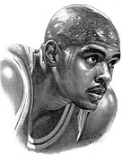 Basketball Sports Drawings Prints - Chrs Webber Print by Harry West