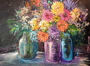 Mason Jars Painting Framed Prints - Chrysanthemums in a Jar Framed Print by Florence Sanders