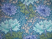 Wallpaper Tapestries Textiles Framed Prints - Chrysanthemums in Blue Framed Print by William Morris
