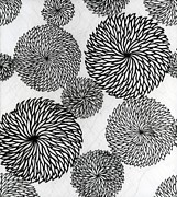 Black White Tapestries - Textiles Prints - Chrysanthemums Print by Japanese School