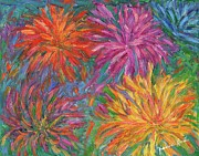 Fireworks Paintings - Chrysanthemums Like Fireworks by Kendall Kessler