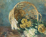 French Impressionism Paintings - Chrysanthemums or The Overturned Basket by Berthe Morisot