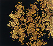 Gold Leaf Paintings - Chrysanthemums by Uematsu Hobi