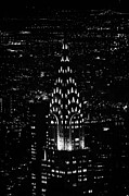 Manhatan Prints - Chrysler art deco building illuminated at night new york city Print by Joe Fox