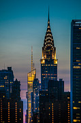 New York City Skyline Digital Art Framed Prints - Chrysler Building At Sunset Framed Print by Chris Lord