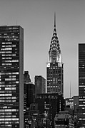 Midtown Posters - Chrysler Building New York City BW Poster by Susan Candelario
