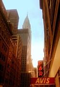 Chrysler Building Rises Above New York City Canyons Print by Miriam Danar