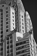 City Scape Metal Prints - Chrysler Gargoyles in B-W Metal Print by David Bearden