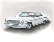 Car Pastels Prints - Chrysler Print by Heather Gessell
