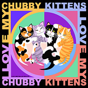 Kittens Digital Art - Chubby Kittens by Michelle Guillot