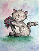 Holding Flower Drawings Framed Prints - Chubby Kitty with Flowers Framed Print by Danise Abbott