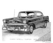 "\\\""texas Artist\\\\\\\"" Drawings Framed Prints - Chuck Azbell Custom 1956 Chevy Framed Print by Arthur Eggers"