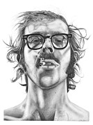 Charcoal Drawings - Chuck Close by Kalie Hoodhood