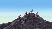 Flocks Of Birds Prints - Chuckers - Calling in the Flock Print by Laird Roberts