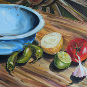 Kristine Kainer Paintings - Chuckwagon Salsa by Kristine Kainer