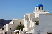 White Walls Framed Prints - Church and Houses Oia Santorini Framed Print by Carole-Anne Fooks