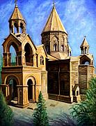 Armenian Paintings - Church at Etchmiazin by Raffi  Jacobian