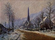 Precipitation Mixed Media Metal Prints - Church At Jeufosse Snowy Weather 1893 Restored Metal Print by Claude Monet - L Brown