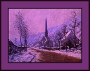 Precipitation Mixed Media Metal Prints - Church At Jeufosse Snowy Weather Enhanced triple border Metal Print by Claude Monet - L Brown