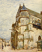 Impasto Oil Painting Metal Prints - Church at Moret after the Rain Metal Print by Alfred Sisley