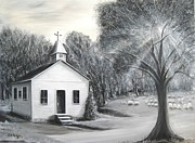 Bell Tower Paintings - Church at Taylor Springs Alabama   by Bobby Perkins