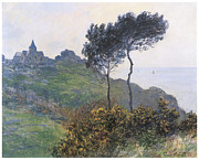 Cloudy Day Paintings - Church at Varengeville by Claude Monet