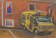 Bus Pastels - Church Bus by Donald Maier