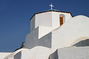 White Walls Framed Prints - Church Detail Pyrgos Santorini Greek Islands Framed Print by Carole-Anne Fooks