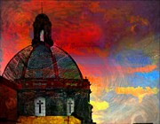 John Kolenberg Posters - Church Dome With Crosses Poster by John  Kolenberg
