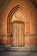 Medieval Temple Photo Prints - Church Door Helsingborg Print by Antony McAulay