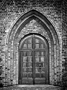 Medieval Entrance Prints - Church Door Monochromatic Print by Antony McAulay
