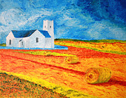 Hay Bales Drawings Posters - Church Harvest Ballintoy Poster by Paul Morgan