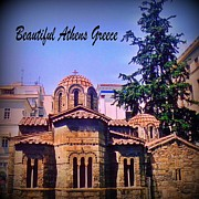 John Malone Halifax Artist Posters - Church in Beautiful Athens Poster by John Malone