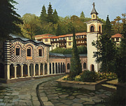 Christian Artwork Painting Prints - Church in Blagoevgrad Print by Kiril Stanchev