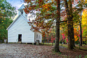 Mary Almond Art - Church in Fall by Mary Almond