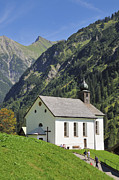Rangy Posters - Church in Kleinwalsertal valley Austria Poster by Matthias Hauser