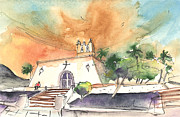 Canary Drawings Prints - Church in Playa Blanca in Lanzarote Print by Miki De Goodaboom