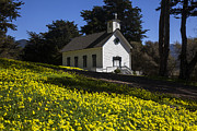 Steeple Photos - Church in the clover by Garry Gay