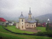 Romania Digital Art - Church in the Mist by Jeff Kolker