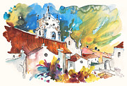 Townscapes Drawings - Church in Vila do Bospo in Portugal by Miki De Goodaboom