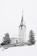 Snow-covered Landscape Prints - Church in winter Print by Matthias Hauser